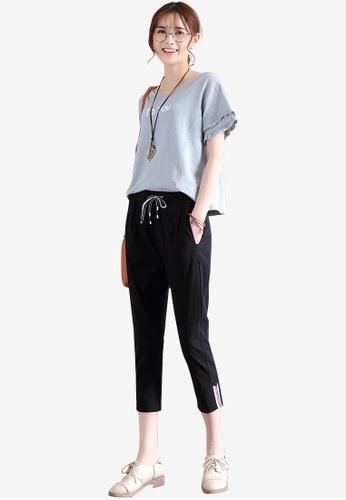 Lara black Women's Flax Cropped Pants AF31BAA9071361GS_1