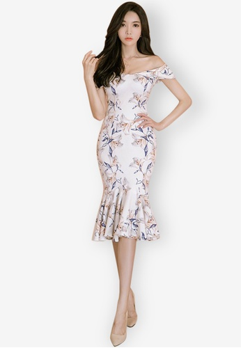 Sunnydaysweety multi Floral Pattern Fishtail Off-shoulder One Piece Dress  665DEAAC5320D4GS 1 6bd0e58822f