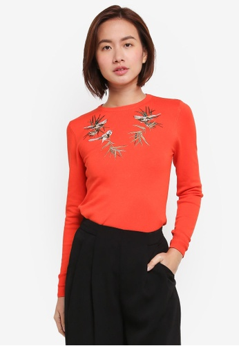 WAREHOUSE orange Embroidered Songbird Jumper DB0E6AACCE9FB5GS_1