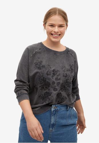 Violeta by MANGO grey Plus Size Embroidered Cotton Sweatshirt 85192AACA02C68GS_1