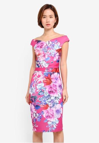 Dorothy Perkins pink Pink Floral Bardot Bodycon Dress 51F6CAA556D25EGS_1