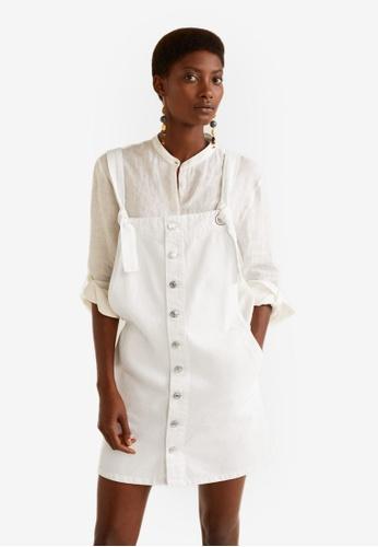 Mango white White Denim Pinafore Dress 11262AAC4A771BGS_1