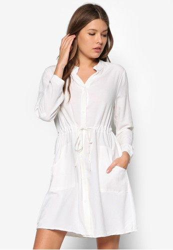 純棉長袖zalora 泳衣襯衫式連身裙, 服飾, 服飾