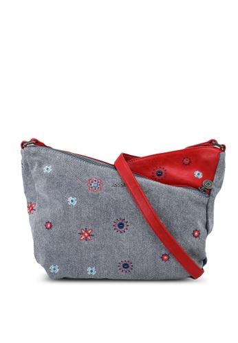 Desigual red Embroidery Denim Crossbody Bag B13E5AC06E0B9DGS_1