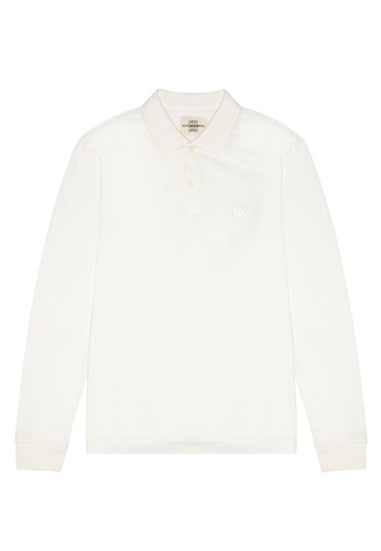 Kent and Curwen white Long Sleeve Polo Shirt 8F517AABB23A0EGS_1