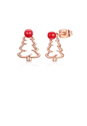 Glamorousky silver Fashion Simple Plated Rose Gold Hollow Christmas Tree Stud Earrings A2F52ACB42226DGS_1