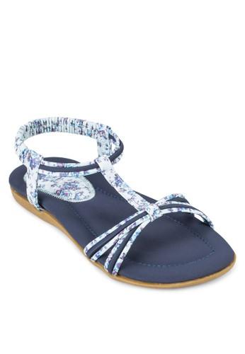 印花T 字帶平底涼鞋, 女鞋, 涼esprit 鞋鞋