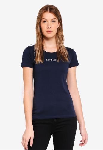 Mango blue and navy Embroidered Logo T-Shirt A52CBAA3C65E56GS_1
