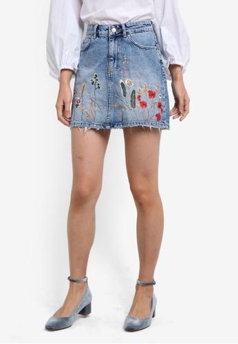 Mango blue Embroidered Denim Skirt MA193AA0RGUGMY_1