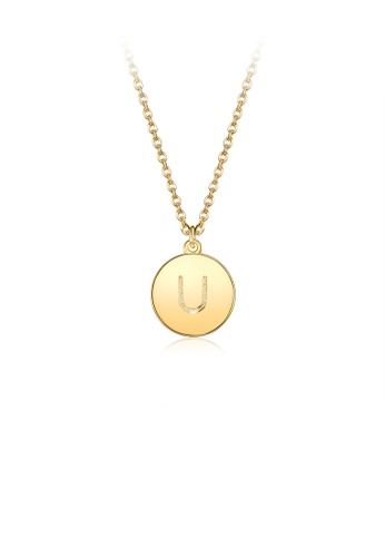Glamorousky silver Fashion and Simple Plated Gold Letter U Round Pendant with Necklace A9794AC8CC9C11GS_1