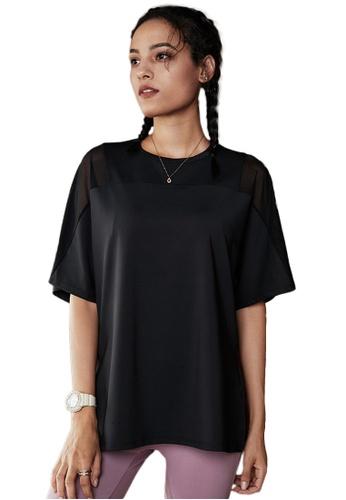 Sunnydaysweety black Mesh See-Through Mid Sleeve Running T-Shirt A081011BK 5E34CAAADC39D1GS_1