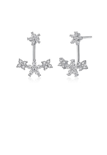 Glamorousky white 925 Sterling Silver Elegant Fashion Flower Cubic Zirconia Stud Earrings 276C9AC994E688GS_1