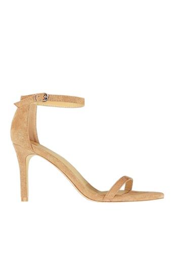 Twenty Eight Shoes 米褐色 麂絨一字帶高跟涼鞋 VS126A9 73199SH8534FC1GS_1