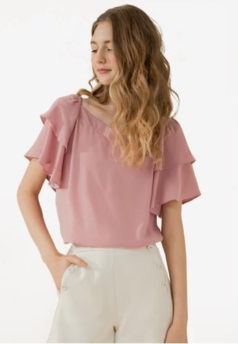 Eyescream pink Tiered Sleeves Top 3EC77AA167DDF3GS_1