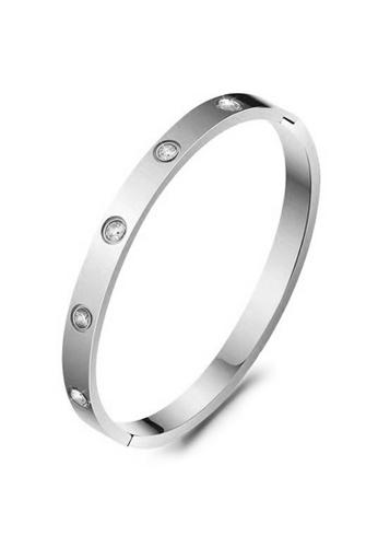 YOUNIQ silver YOUNIQ TIMEZ Silver Titanium Steel Bangle with Cubic Zirconia - 17cm 2B887AC9191894GS_1