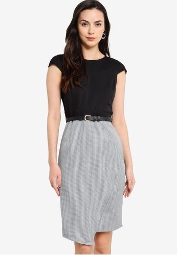 ZALORA WORK black and multi Cap Sleeve Asymmetric Dress 9606DAAE5D537DGS_1