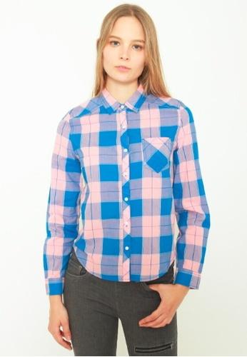DENIZEN blue DENIZEN Women's Long Sleeve Checkered Casual Shirt - Coral Pink DZ-59014-0423 64293AA2A572DCGS_1