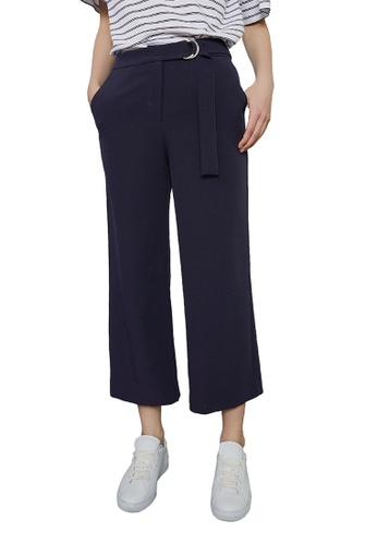 Hopeshow navy Loose Fit Capri Pants with O-ring Belt FAD24AA306ED2FGS_1