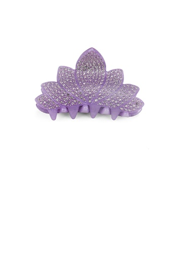 Glamorousky white Simple and Bright Purple Flower Hair Slide with Cubic Zirconia 052CBAC8975F98GS_1