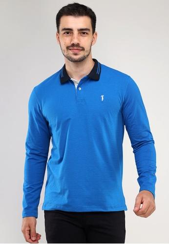 Bossini Men blue Collar Shirt Crazyline Longsleeves D7823AA1579BF7GS_1