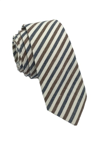 Splice Cufflinks Passe Series Blue Brown & White Thin Stripes Cotton Tie SP744AC31LOQSG_1