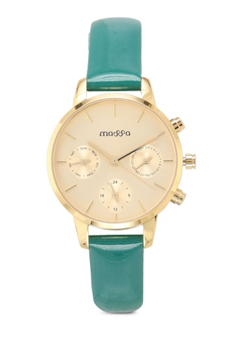 Massa Collections gold Xquisit Gold Green Ladies Leather Watch CFD60AC7C5EEEBGS_1