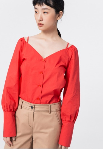 iROO red Blouse ACE91AA8AF6111GS_1