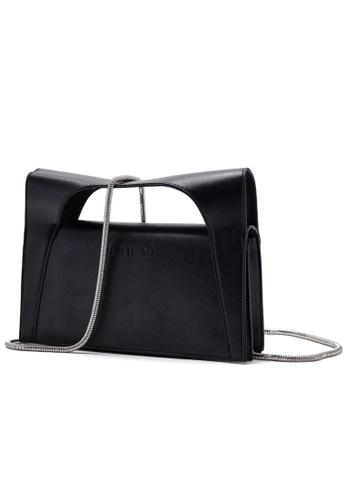 Vince black Minimalist Vegan Leather Clutch with Chain Strap VI456AC91FNCMY_1