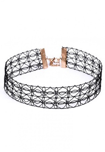LOVENGIFTS black Pentagram Tattoo Choker (Black) 2438EAC6DA9E4DGS_1