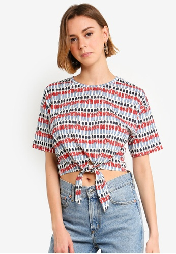 c877ae258a3bcf Shop UniqTee Print Knot Front Crop Tee Online on ZALORA Philippines
