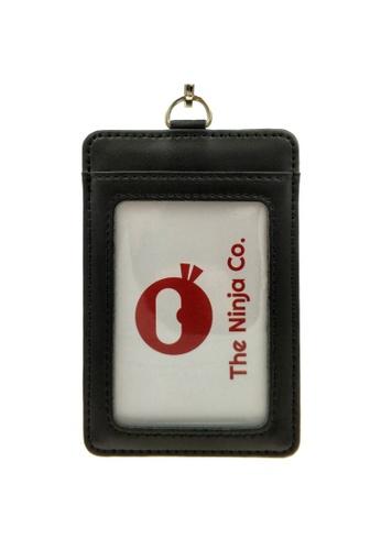LUXORA black The Ninja Co. Card Holder Lanyard - Split Genuine Leather - ID Access Wallet Men Women Gift Black BE12BAC2CF1EC9GS_1