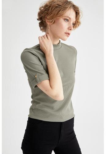 DeFacto green Woman Knitted Short Sleeve T-Shirt 136B1AADD8EEBFGS_1