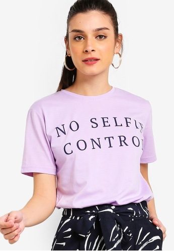 ZALORA purple and multi Slogan Tee 4C3A7AA1C9AC5BGS_1