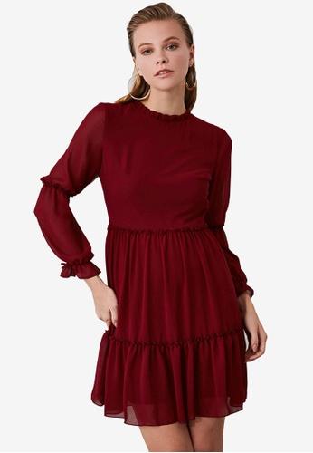 Trendyol red Ribbon Tie Sleeve Chiffon Dress 8B437AAD79B643GS_1
