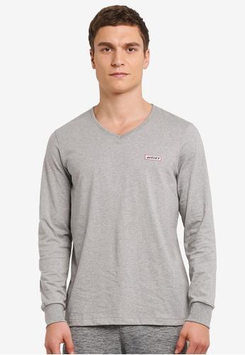 2GO grey Long Sleeve V-Neck T-Shirt 2G729AA0S5Z9MY_1
