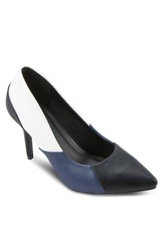 Tri-Colored Pointed Toe Pump Heels