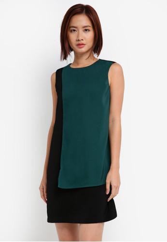 ZALORA green Colorblock Midi Dress 826DEAA94D3D47GS_1