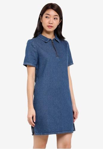 ZALORA blue Zipper Detail Denim Shift Dress 46ED6ZZ893203FGS_1
