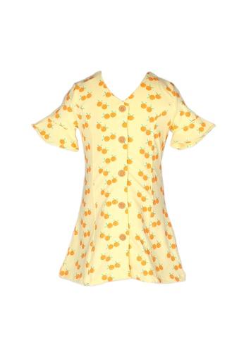 Mini Moley yellow Mandarin Orange Print Girl's Button Down Dress 01510KA714373FGS_1