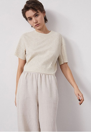 H&M beige Ribbed Cropped Top D6773AA9463D68GS_1