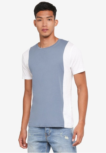 Only & Sons 藍色 短袖撞色T恤 4EB66AAACF2170GS_1
