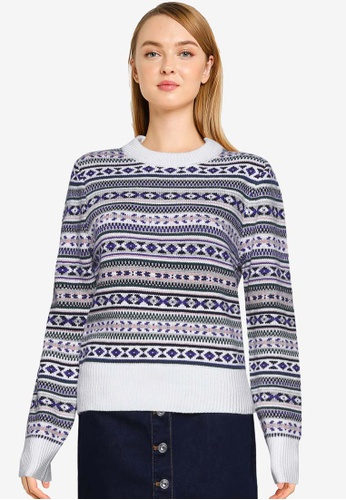 French Connection purple Kelsa Knits Fairisle Cropped Jumper 9DFF9AAE2E84D8GS_1