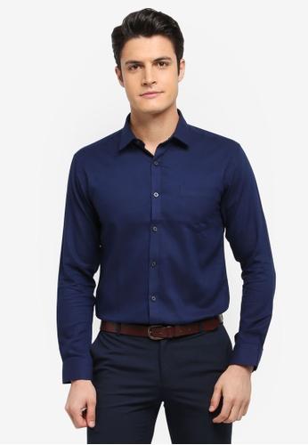 Kent & Crew navy Basic Slim Fit Long Sleeve Shirt 947E1AAD2C972DGS_1