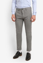 Topman black Mini Houndstooth Stretch Skinny Trousers TO413AA0S5L4MY_1