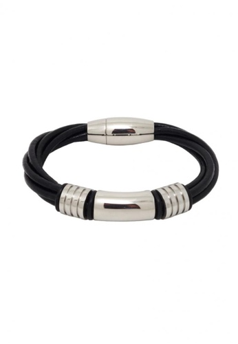 Jaysa Collection black Stainless Steel Ornaments Bracelet with Intertwined Leather Cords Strap JA875AC14FQNSG_1
