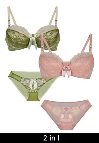 La Dee orange and green 2 in 1 Emma Bra Set LA377US96NTZID_1