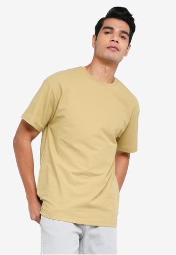 Urban Revivo brown Oversized Plain T-shirt 1E313AA1DACE89GS_1