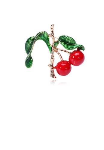 Glamorousky silver Fashion Simple Plated Gold Cherry Brooch 65B1AACCAD2424GS_1