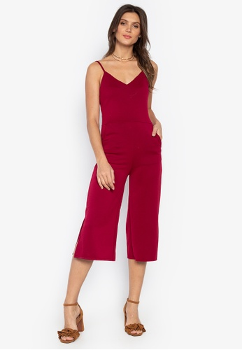 412ddcb261b Ashley Collection red Strappy V-Neck Culottes Romper 61FCFAA28E969EGS 1