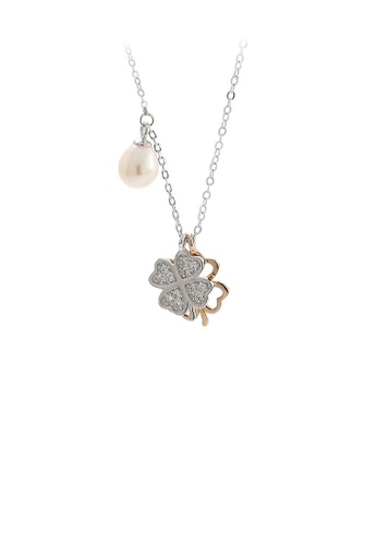 Glamorousky white 925 Sterling Silver Fashion Four-leafed Clover Cubic Zirconia Pendant with Freshwater Pearls and Necklace 7DAF6AC5089B20GS_1
